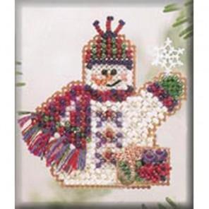 Снеговик с подарками Набор для вышивания бисером MILL HILL