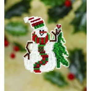 Улыбающийся снеговик Набор для вышивания бисером MILL HILL