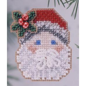 Санта с рождественской омелой Набор для вышивания бисером MILL HILL
