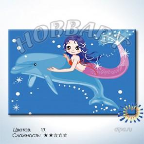 Количество цветов и сложность Дельфин и русалка Раскраска по номерам на холсте Hobbart HB2030040-LITE