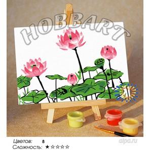 Количество цветов и сложнсоть Нежность лотосов Раскраска по номерам на холсте Hobbart M1015063