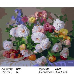 Сложность и количество цветов Пионы и ирисы Раскраска по номерам на холсте G339