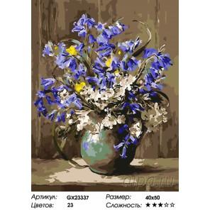 Количество цветов и сложность Синие колокольчики Раскраска картина по номерам на холсте GX23337
