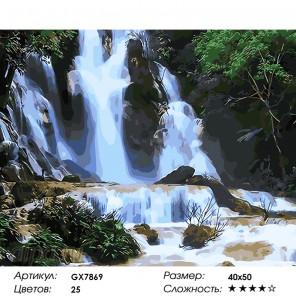 Количество цветов и сложность Водопад Раскраска по номерам на холсте GX7869