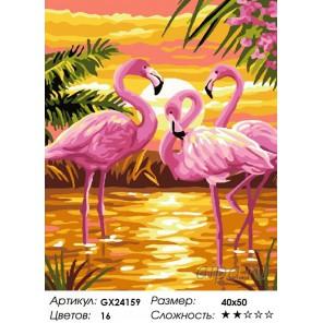 Количество цветов и сложность Страна розовых фламинго Раскраска картина по номерам на холсте GX24159