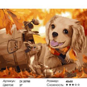 Собачка и белка Раскраска картина по номерам на холсте ZX 20785