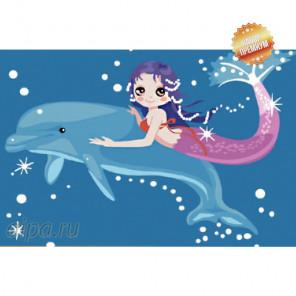 Дельфин и русалка Раскраска картина по номерам на холсте MC031