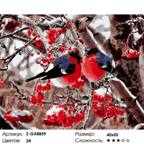 Количество цветов и сложность Снегири на веточке рябины Раскраска картина по номерам на холсте Z-GX8859
