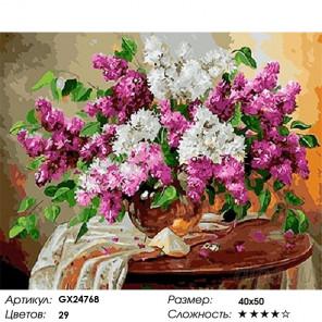 Количество цветов и сложность Сирень на столике Раскраска картина по номерам на холсте GX24768