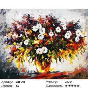 Количество цветов и сложность Сирень и ромашки Раскраска картина по номерам на холсте Белоснежка 025-AB