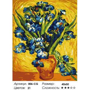 Количество цветов и сложность Ирисы Ван Гог Раскраска картина по номерам на холсте Белоснежка 006-CG