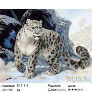 Количество цветов и сложность Снежный барс (ирбис) Раскраска картина по номерам на холсте ZX 21115