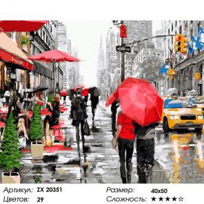Количество цветов и сложность Нью-Йорк под дождем Раскраска картина по номерам на холсте ZX 20351