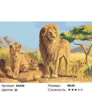 Количество цветов и сложность Семейство львов Раскраска картина по номерам на холсте RA030