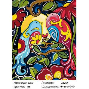 Количество цветов и сложность Птички на ветке Раскраска картина по номерам на холсте A95