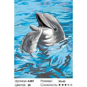 Количество цветов и сложность Дельфины Раскраска картина по номерам на холсте A287