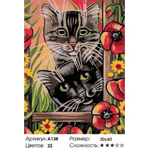 Количество цветов и сложность Котята в саду Раскраска картина по номерам на холсте A138