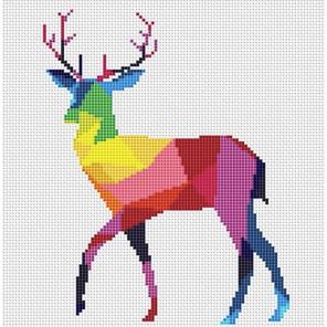 Пример оформления в рамку Радужный олень Набор для вышивания KR-012