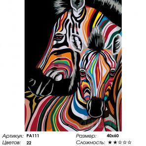 Количество цветов и сложность Две радужные зебры Раскраска по номерам на холсте Живопись по номерам PA111