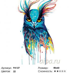 Количество цветов и сложность Красочная совушка Раскраска по номерам на холсте Живопись по номерам PA127
