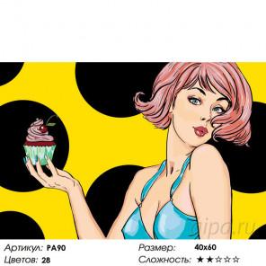 Кекс с вишенкой Раскраска по номерам на холсте Живопись по номерам PA90
