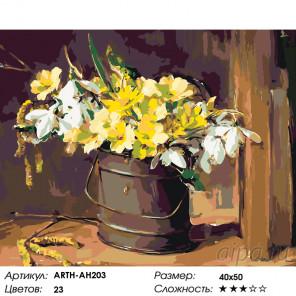 Количество цветов и сложность Букет с подснежниками Раскраска по номерам на холсте Живопись по номерам ARTH-AH203