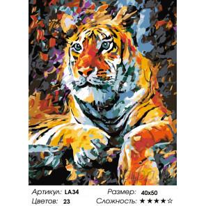 Количество цветов и сложность Портрет тигра Раскраска по номерам на холсте Живопись по номерам LA34