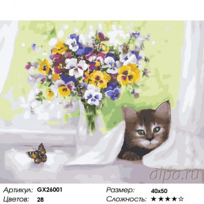 Количество цветов и сложность Фиалки и котенок Раскраска по номерам на холсте GX26001