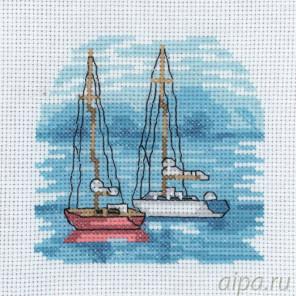 В рамке Красный парусник Набор для вышивания Permin 13-8118