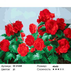 Количество цветов и сложность Куст розы Раскраска картина по номерам на холсте ZX 21234