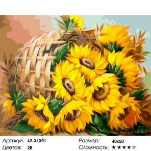 Количество цветов и сложность Букет из солнышек Раскраска картина по номерам на холсте ZX 21241