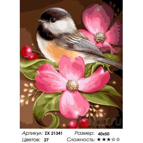 Синица в цветах Раскраска картина по номерам на холсте ZX 21341