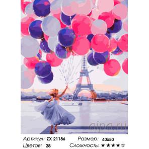 Количество цветов и сложность Шары в Париже Раскраска картина по номерам на холсте ZX 21186