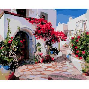 Средиземноморский поселок Раскраска картина по номерам на холсте
