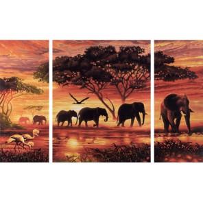 Африканские слоны Триптих Раскраска по номерам акриловыми красками Schipper (Германия)