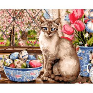 Пасхальный кот Раскраска картина по номерам на холсте GX9293