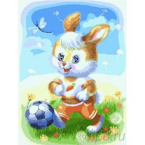Зайчонок футболист Раскраска картина по номерам на холсте EX5465