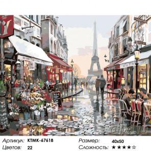 Количество цветов и сложность Уютный Париж Раскраска по номерам на холсте Живопись по номерам KTMK-67618