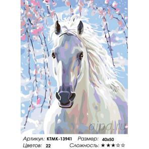 Количество цветов и сложность Весенняя лошадь Раскраска по номерам на холсте Живопись по номерам KTMK-13941