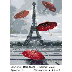 Раскладка Зонты в Париже Раскраска по номерам на холсте Живопись по номерам KTMK-85496