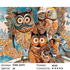 Количество цветов и сложность Совиное царство Раскраска по номерам на холсте Живопись по номерам KTMK-26275