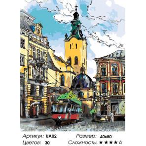 Количество цветов и сложность Городская улочка Раскраска по номерам на холсте Живопись по номерам UA02