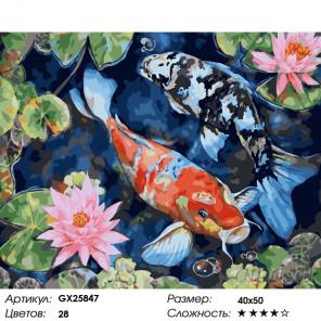 Количество цветов и сложность Карпы среди лотосов Раскраска по номерам на холсте GX25847