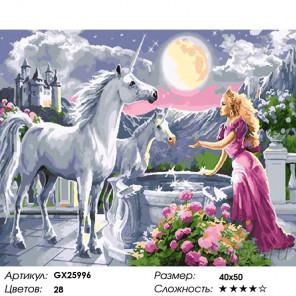 Количество цветов и сложность Единорог в саду Раскраска картина по номерам на холсте GX25996