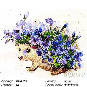 Количество цветов и сложность Цветочный еж Раскраска картина по номерам на холсте GX26748