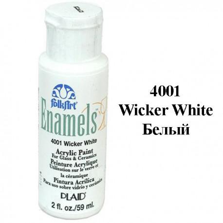 4001 Белый Эмалевая акриловая краска Enamels FolkArt Plaid
